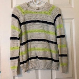 Navy blue and lime green striped sweater!